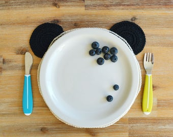 Panda Teddy Placemat - Black and White 100% Cotton Crochet Children's Tableware Made To Order Table Mat