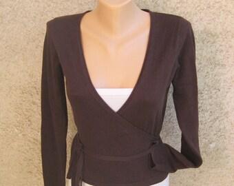 Vintage Dark Brown Jacket, Machine Knit Cropped Cardigan, Long Sleeve Tricot Vest, Ties Womens Sweater, Acrylic Elastane Coat, S 4 US 6 UK