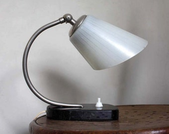 1930s Art Deco Bedside Table Lamp.  Marble, Chrome, Glass. Vintage Lighting by ProjectSarafan.