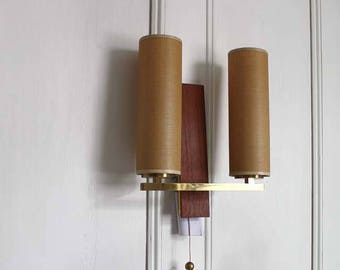 PAIR of 1960s Teak Wall Lights. Midcentury Modern Danish Design Sconces