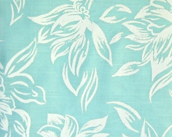 Mint Green and White Floral Fabric, Rayon Polyester, Fabric by the Yard