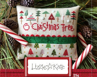 NEW O Christmas Tree Kit cross stitch pattern INCLUDES fabric trim by Lizzie Kate at thecottageneedle.com