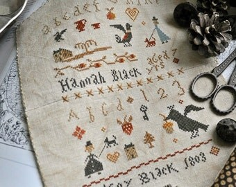 NEW Sisters Les Deux Soers cross stitch pattern by Barbara Ana at thecottageneedle.com Mother's Day siblings mom mother