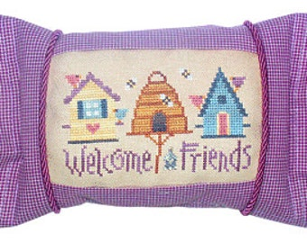Welcome Friends cross stitch pattern by Lizzie Kate Snippet S51 at thecottageneedle.com housewarming bee hive skep birdhouse friendship