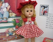 "Fits 8"" Ginny Vogue Doll .. Red & White Gingham Dress ..D1270"