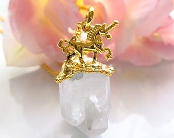Crystal cluster unicorn necklace