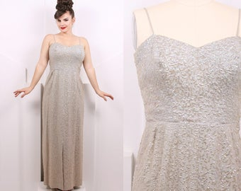 Vintage 1950's Iridescent Gray Sequins Evening Gown • 50's Silver Sequin Floor Length Dress • Size L