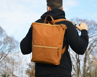 Vegan Waxed Canvas Backpack, Mustard Minimalist Rucksack, Convertible Waterproof Laptop Carrier, available in two sizes,  Christmas Gift