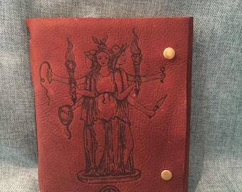 Hecate Sorceress Brown Leather Journal/ Sketchbook/ Notebook/ Spellbook