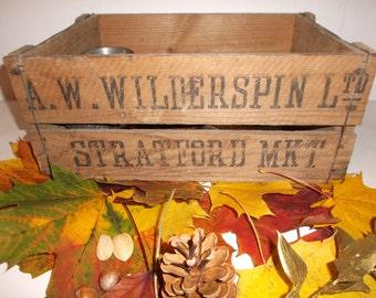 Antique London Market Wood Crate Stratford Market Box