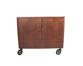 Vintage Mid Century Modern Rolling Side Bar Cabinet