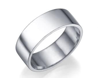 Plain 14K White Gold Wedding Band , Flat Solid White Gold Size 5 Plain Band Sizeable Bridal Jewelry