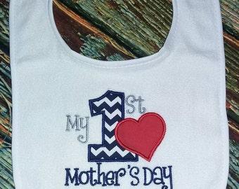 My 1st Mother's day Bib, mother's day bib, holiday bib