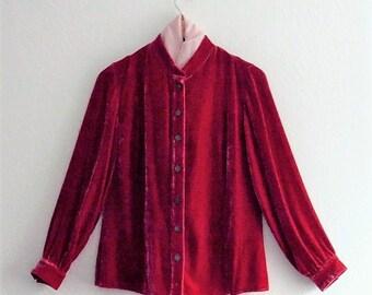Romantic Red Silk Velvet Shirt Jacket