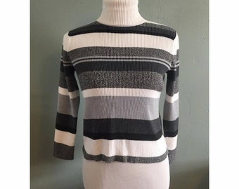90s Black White and Gray Striped Turtleneck Long Sleeve Shirt