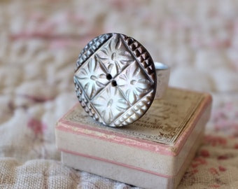 Unique silver ring, French antique 1800s grey sculpted mother of pearl button promise ring, wedding