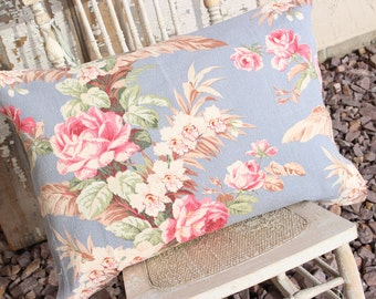 Mid Century Floral Pink Cabbage Rose Tropical Floral Blue Nubby Barkcloth Vintage Fabric Cushion Decorative Throw Pillow