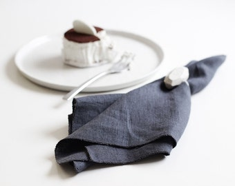 Charcoal table linens, Pure linen tablecloth, Charcoal grey table runner or Soft linen napkins from Edged collection by Lovely Home Idea