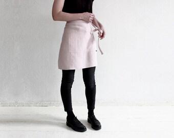 Cafe apron, Linen half apron, Dusty rose linen apron, Linen waist apron, Chef apron, Neutral light pink linen apron