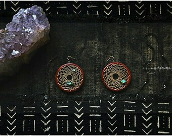 MADE To Order   Wheel of Medicine  exotic wood weaved Dreamcatcher hoop drop dangle earrings super light