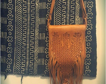 Fez el Bali   Handmade Camel leather hip shoulder bag with fringe