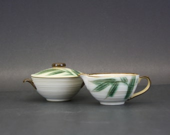 Vintage 1955 Showa 'Kasuga' Bamboo Cream and Sugar Set (E8185)