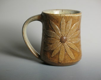 Mug with flower, pottery
