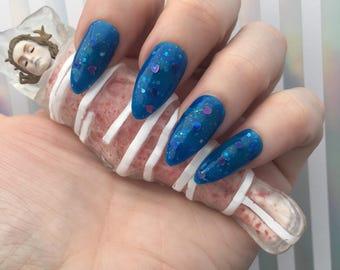 Laura's Lips -Laura Palmer- Twin Peaks Blue Icy Glitter Polish