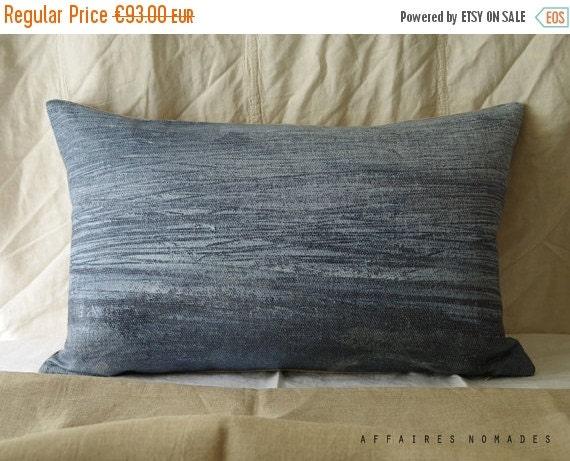 "SALE Sea inspired Linen throw Pillowcase. 14""x 22"" Blue.. Brightness of blue  /  FRAGMENTS. Coastal home decor"