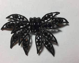 Spiky Black Vintage WEISS Bow Pin