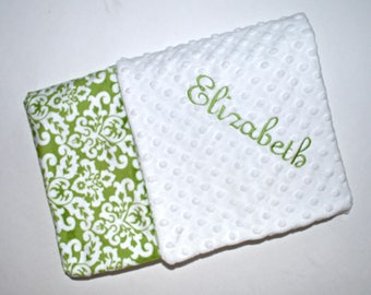 SALE Monogrammed Minky Baby Blanket - Leaf Green & Off White Damask Personalized, Baby Girl blanket with name, birth stats Newborn