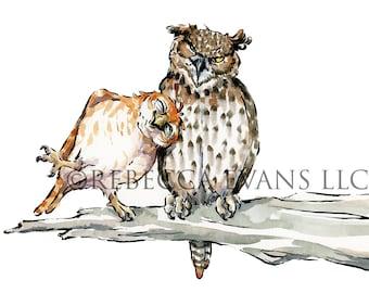 Illustration Art Print of Owl Friends 8.5x11