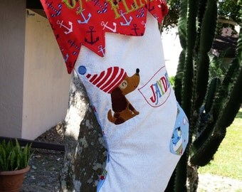 Christmas Stocking Embroidered Personalized With Puppy Pirate Theme