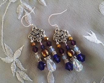 Purple chandelier earrings, Gypsy silver chandelier earrings with lampwork glass, sea opal and violet crystal