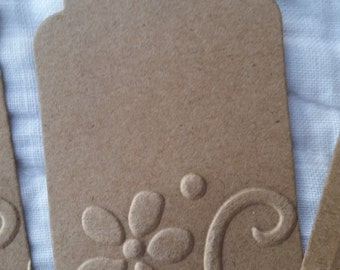 Gift Tags with Embossed Flower Natural Cardstock - 12
