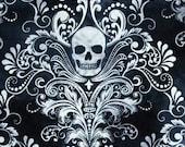 "Elegant Sugar Skull told me Cotton  Print Valance or Panel  12"" 14"" 18"" 24' 32"" Lined or Unlined"