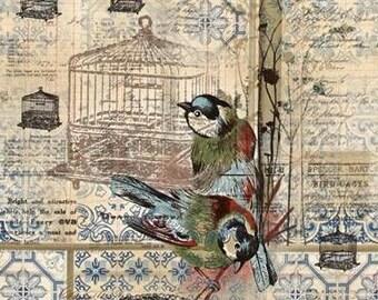 "BLUE BIRD COLLAGE Valance or Panel  Cotton  Print Window treatment 12"" 14"" 18"" 24"" 32"" Long, Custom"
