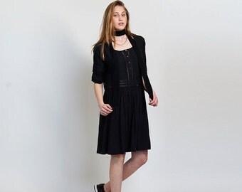 Pre Winter Sale 15% Placket Eyelet midi dress ,Black.