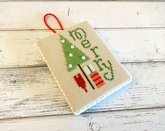 Christmas Ornament, Cross Stitch Ornament, Tree Ornament, Finished Cross Stitch, Christmas Cross Stitch, Completed Cross Stitch, Merry Tree