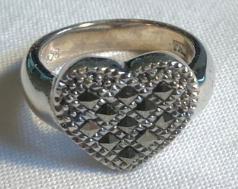 Sterling Silver Marcasite Heart Ring-Size 6 7/8