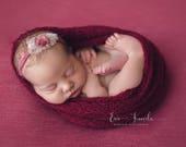 Photography Prop Wraps. Newborn Wrap Headband Set. Rose Headband Wrap Set. Cranberry Wrap and Headband. Newborn Photography Prop.UK SELLER