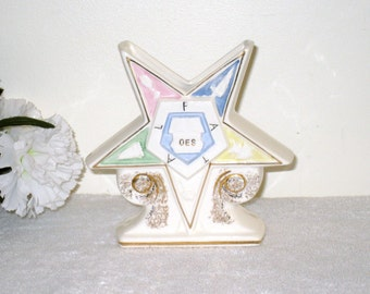 Vintage Order of the EASTERN STAR Vase, F.N. Kistner Co., Japan, 5 1/8 x 5 1/4 x 1 3/4 Inches, Oes Collectible, Lady Masons