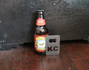 FREE SHIPPING Metal Bottle Opener with KC initials Credit Card Size