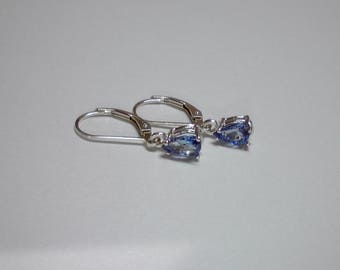 Pear Tanzanite  dangle leverbacks
