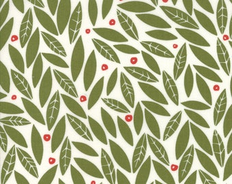 Merrily Winter Holly in Holly Green,  Gingiber, 100% Cotton, Moda Fabrics, 48212 13