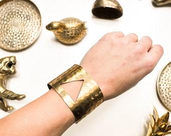 Vintage Triangle Cutout Hammered Brass Cuff - Brass Bracelet
