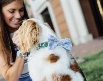 Seersucker Navy Blue Equestrian Bow Tie Dog Collar, Preppy Dog Collar, Horse Dog Collar, Fox Hunt Dog Collar, Striped Dog Collar,