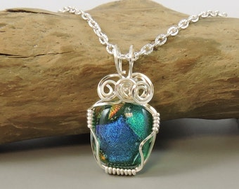 Blue & Green Wire Wrapped Necklace, Dichroic Glass Necklace, Dichroic Glass Jewelry, Blue necklace