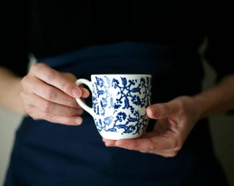 For Katie / Petit café / Small coffee cup with handle/ blue flowers/artetmanufacture