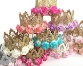 Original Sienna mini lace crown || Design your own FLOWER crown ||choose crown + flower color || choose ONE|| Firmest crowns